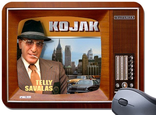 Kojak Tribute TV Show Mouse Mat.  Vintage Television Mouse Pad Telly Savalas