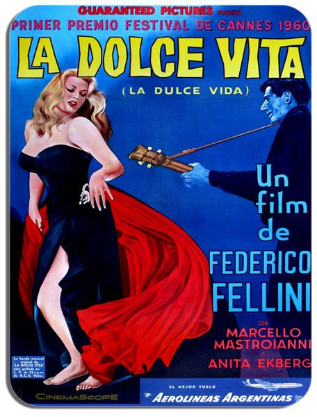 La Dolce Vita Mouse Mat. High Quality Federico Fellini Film Poster Mouse pad