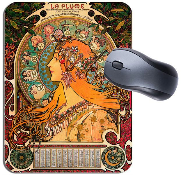 La Plume Vintage French Nouveau Mouse Mat. High Quality Art Advert Mouse Pad
