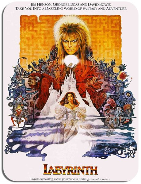 Labyrinth Vintage Retro Film Poster Mouse Mat. High Quality Mouse pad. Bowie