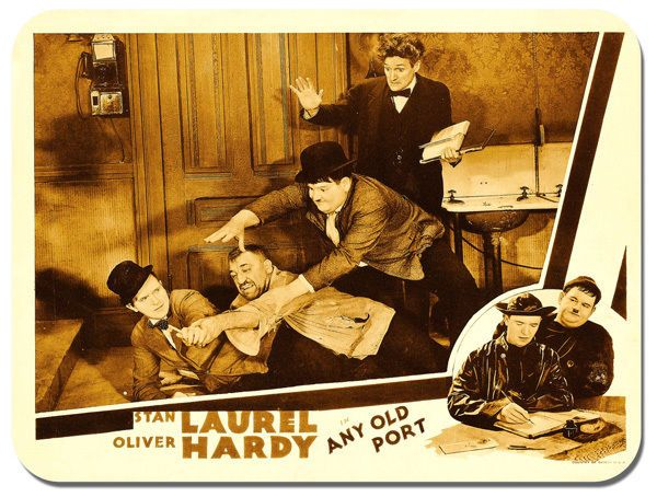 Laurel And Hardy Any Old Port Movie Poster Mouse Mat. Vintage Film Mouse pad