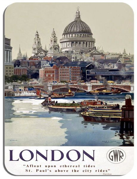 London St Paul's Vintage Railway Poster Mouse Mat. Train Travel Mouse Pad Gift