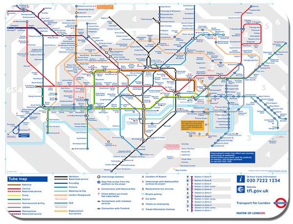 London Underground Map Mouse Mat. The Tube Poster Mouse Pad
