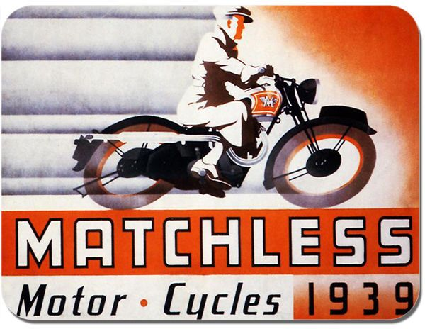 Matchless 1939 Vintage Ad Motorbike Mouse Mat Motorcycle Biker Mouse pad