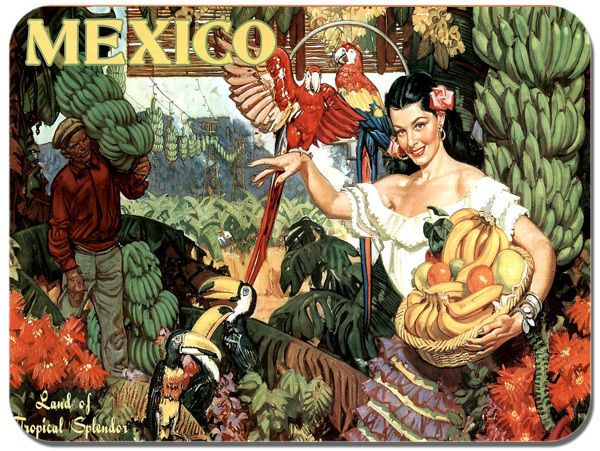 Mexico Vintage Tourism Poster Mouse Mat. Travel Advert High Quality Mouse Pad