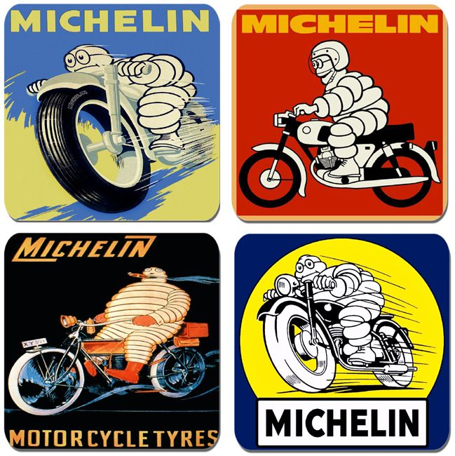 Michelin Tyres Poster Motorcycle Coaster Set Of 4. Vintage Pineu Tire Motorbike Advertising