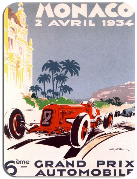 Monaco 1934 Grand Prix  Poster Mouse Mat. Motor Racing High Quality Mouse pad.