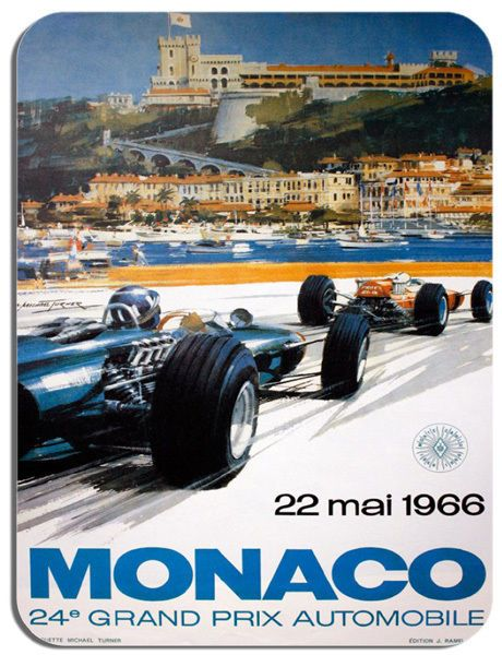 Monaco 1966 Grand Prix  Poster Mouse Mat. Motor Racing High Quality Mouse pad.