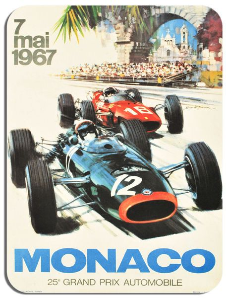 Monaco 1967 Grand Prix  Poster Mouse Mat. Motor Racing High Quality Mouse pad.
