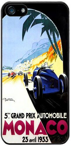 Monaco Grand Prix 1933 Rubber Cover/Case For iPhone 5/5S Vintage Poster Gift
