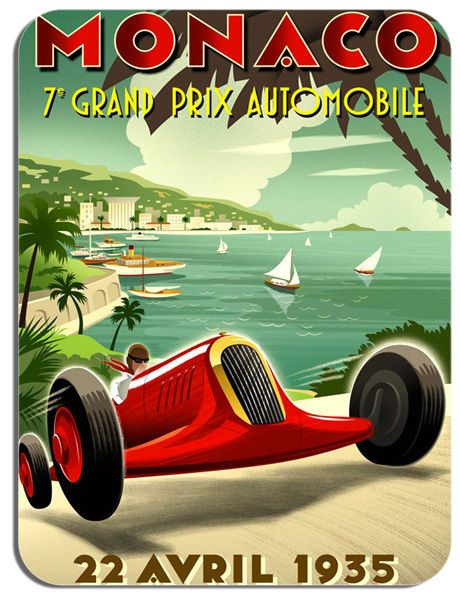 Monaco Grand Prix 1935 Mouse Mat. Motor Racing Vintage Poster Mouse pad.