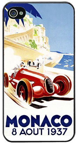 Monaco Grand Prix 1937 Vintage Poster High Quality Cover/Case For iPhone 4/4S.