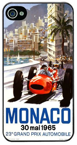 Monaco Grand Prix 1965 Cover/Case For iPhone 4/4S. Vintage Poster Car Race Gift