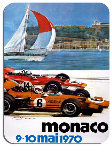 Monaco Grand Prix 1970 Mouse Mat. Classic Motor Racing Vintage Poster Mouse pad