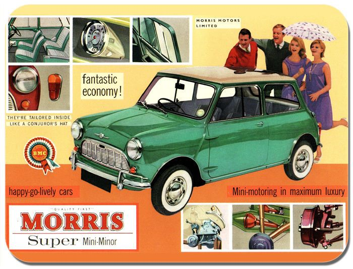 Morris Mini Minor Car Ad Mouse Mat. Classic Car Mouse pad. Classic Brochure