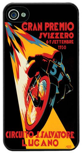 Moto GP Vintage Poster Cover Case For iPhone 4/4S. Swiss Grand Prix Motorcycle