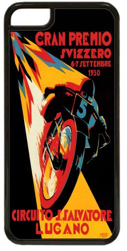 Moto GP Vintage Poster Cover Case For iPhone 5C. Swiss Grand Prix Motorcycle