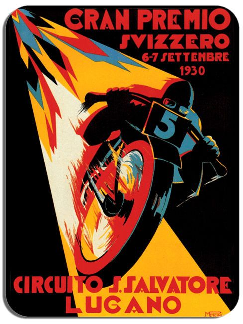 Moto GP Vintage Poster Mouse Mat Motorcycle Swiss Grand Prix Motorbike Mouse pad