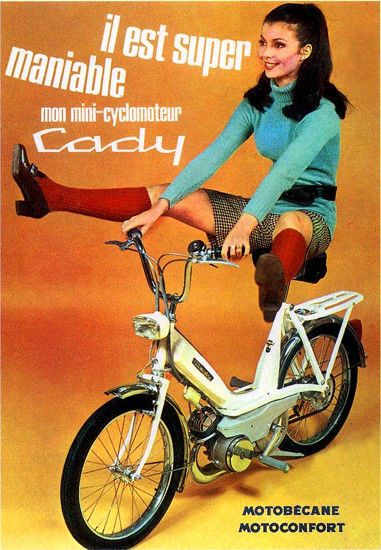 Motobecane Cady French Moped Advert Poster T-Shirt.  Adult, Ladies & Kids Sizes