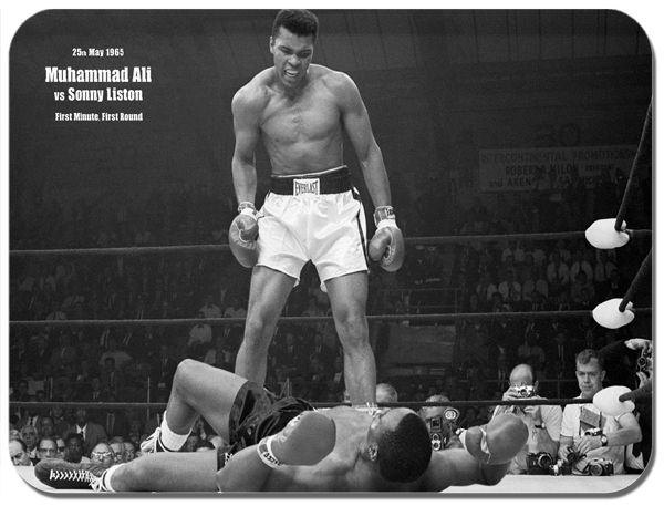 Muhammad Ali vs Sonny Liston 1965 Poster Mouse Mat. Boxing Match Mouse Pad