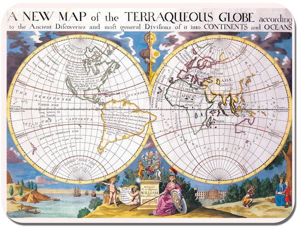 New World Map Of The Terraqueous Vintage Globe Mouse Mat. High Quality Mouse Pad