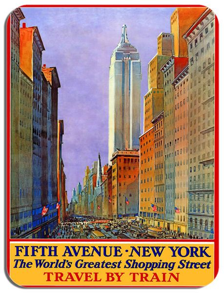 New York Fifth Avenue Shopping Vintage Poster Mouse Mat. Train Railway Mouse Pad
