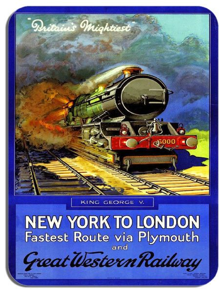 New York To London Vintage Railway Poster Mouse Mat. Train Travel Mouse Pad Gift