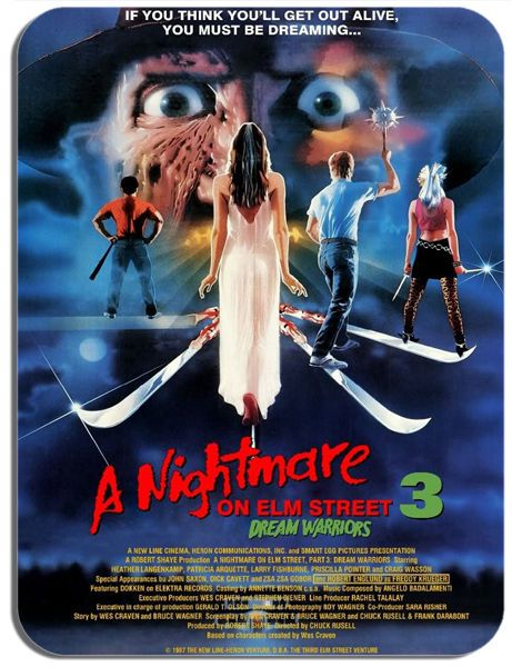 Nightmare On Elm Street 3 Dream Warriors Vintage Poster Mouse Mat Movie Mousepad