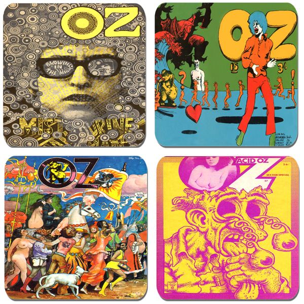 Oz (Magazine) Covers Coaster Set Of 4. Undergound Art Counter Culture Drink Coasters. Quality Cork