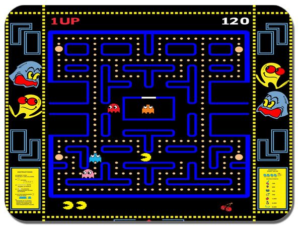 Pacman Video Game Mouse Mat. Vintage Arcade Mouse Pad