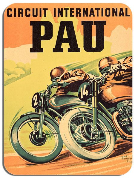 Pau International Circuit Motorbike Mouse Mat. Vintage Motorcycle Race Mouse pad