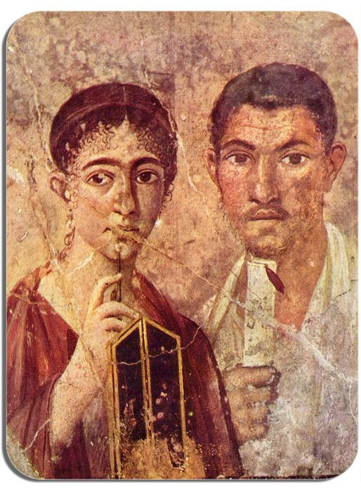 Pompeii Fresco Baker Terentius Neo And His Wife Mouse Mat. Quality Art Mouse Pad