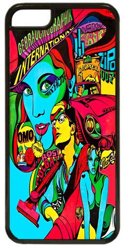 Psychedelic Sixties Poster High Quality Clip Cover/Case Fits iPhone 5C. Pop Art