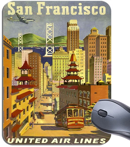 San Francisco Airline Poster Mouse Mat. High Quality Travel Mouse Pad