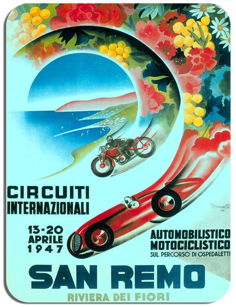 San Remo Motorcycle Car Race Mouse Mat. Italy 1947 Vintage Motorbike Mouse pad