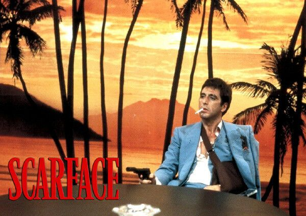Scarface Al Pacino Sunset Scene T-Shirt Adults, Ladies & Kids Sizes. Gangster Movie Poster Tee Gift
