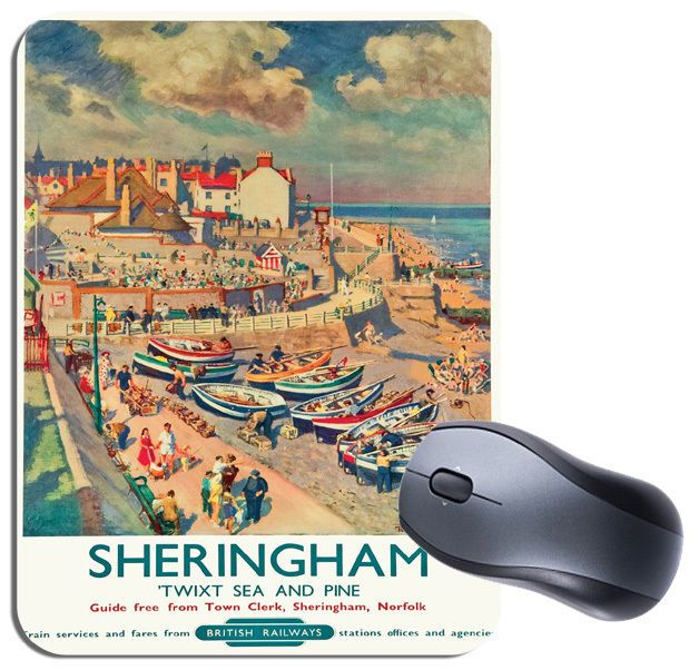Sheringham Vintage Railway Poster Mouse Mat. Norfolk Train Travel Mouse Pad Gift