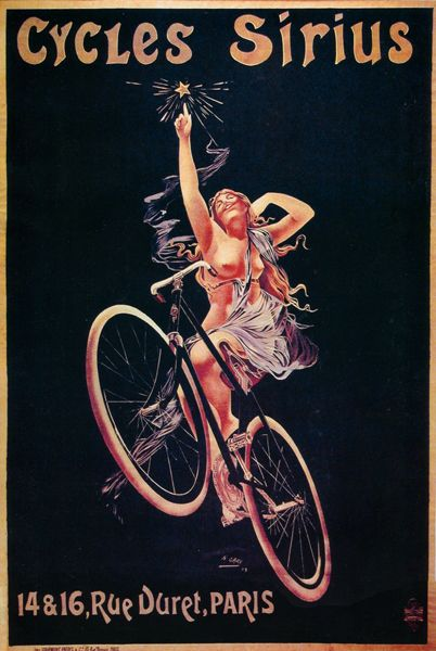 Siruis Cycles Bicycle Advert Poster T Shirt Classic Victorian French Bike Tee