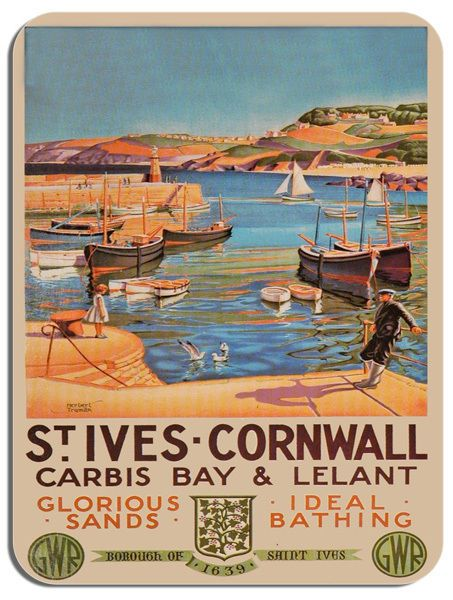 St Ives Cornwall Vintage Railway Poster Mouse Mat. Carbis Bay Train Mouse pad