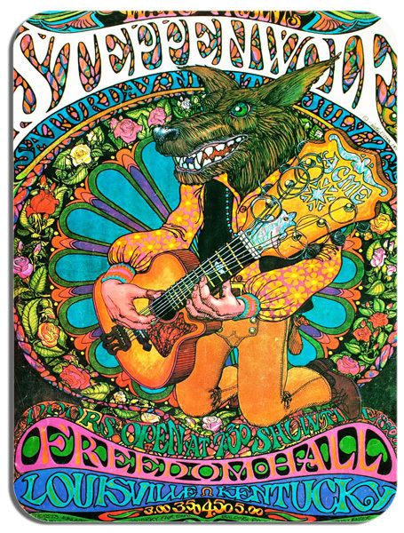 Steppenwolf Concert Poster Mouse Mat Psychedelic Rock Mouse Pad Classic Vintage