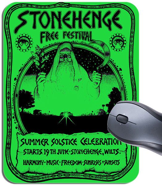 Stonehenge 1974 Free Festival Vintage Green Poster Mouse Mat. Concert Mouse Pad