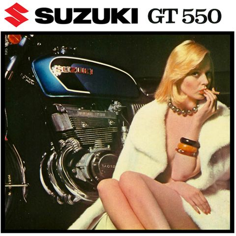 Suzuki GT550 Motorcycle T Shirt. Vintage Italian Advertising Motorbike Tee