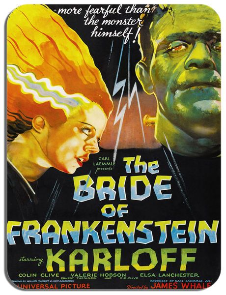 The Bride Of Frankenstein Vintage Film Poster Mouse Mat. Horror Movie Mouse Pad