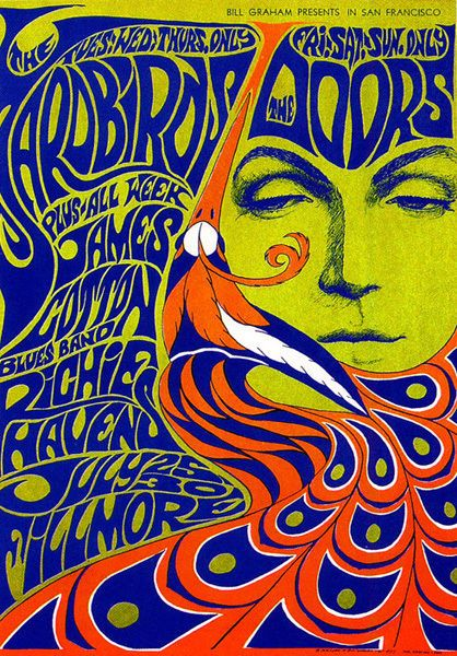 The Doors & The Yardbirds Fillmore Concert Poster T-shirt Mens Ladies Kids Sizes