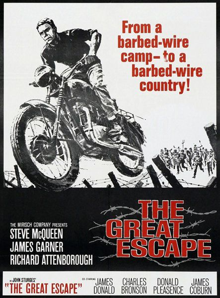 The Great Escape Movie Film Poster T-Shirt. 13 Sizes. Motorcycle Steve Mcqueen