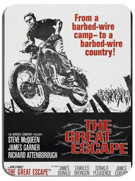 The Great Escape Movie Poster Mouse Mat Motorbike Mouse pad. Steve Mcqueen Film
