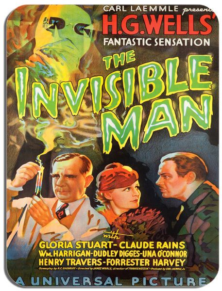 The Invisible Man Vintage Film Poster Mouse Mat. HG Wells Horror Movie Mouse Pad