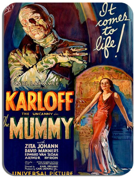 The Mummy Vintage Film Poster Mouse Mat. Boris Karloff Horror Movie Mouse Pad
