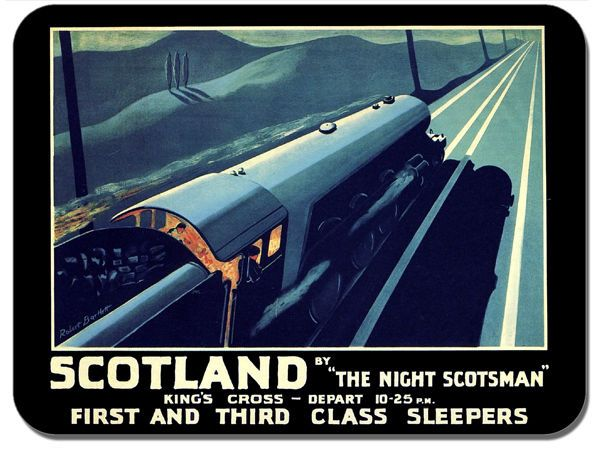 The Night Scotsman Vintage Poster Mouse Mat. Britain By Train Railways Mouse Pad