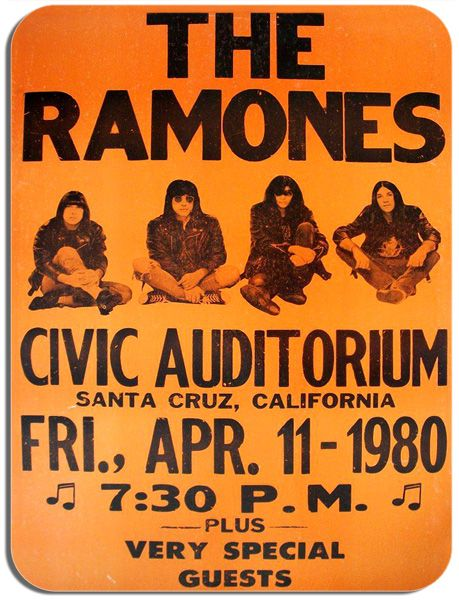 The Ramones Civic Auditorium Gig Poster Mouse Mat. Santa Cruz  Punk Concert Mouse Pad